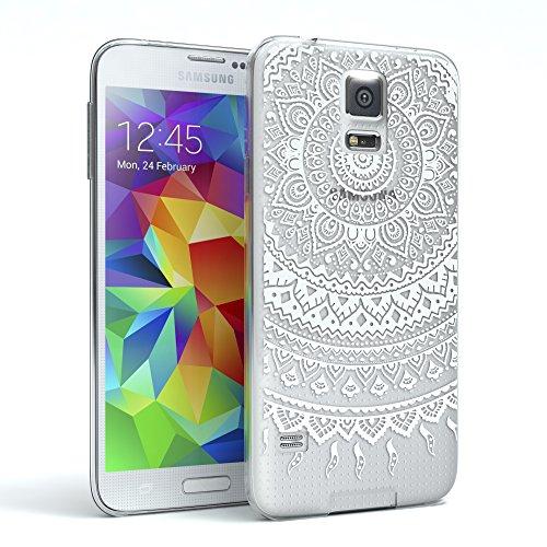 EAZY CASE Hülle für Samsung Galaxy S5/LTE+/Duos/Neo Schutzhülle Silikon Mandala Design, Slimcover Henna, Handyhülle, TPU Hülle/Soft Case, Silikonhülle, Backcover, indische Sonne, transparent, Weiß (Smart-phone In Der Indischen Preis)