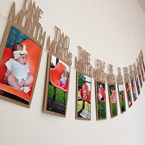 Lanspo Bilderrahmen Bilderrahmen mit Klemmen, Kinder Geburtstag Geschenk Dekorationen 1-12 Monat Foto Banner Monatliche Foto Wand (Braun)