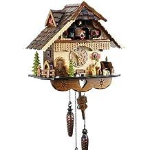 Orologio a cucù Cuculo Orologio in vero legno nuovo batteriebetriebenes quartzwerk Musica chiamo del cuculo Eble–casa della Foresta Nera di 35cm 21449