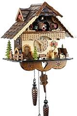 Idea Regalo - Eble, orologio a cucù, in vero legno, alimentato a batterie, movimento al quarzo, suona il richiamo del cuculo, a forma di casa della Foresta Nera, 35 cm, 21449
