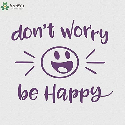 zhuziji Inspirierende Zitat Wandaufkleber Sorgen Sich Nicht glücklich Büro Wandtattoo Kinderzimmer Special Smile Face Muster Art Deco 69x57cm