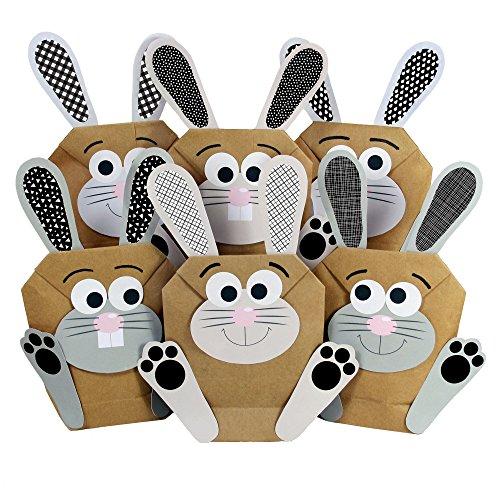Papierdrachen 12 DIY Osterhasen Tüten - schwarzweiße Geschenktüten zu Ostern zum selber Befüllen – zum Verpacken von Geschenken für Kinder und Erwachsene