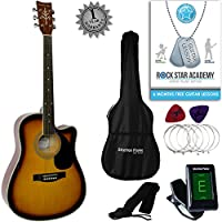 Stretton Payne Dreadnought Cutaway Acoustic Guitar 41 inch all Linden Body, Gig Bag, Electronic Tuner, Plectrums, Spare Strings, Strap and Online Guitar Lessons. Guitar in Sunburst