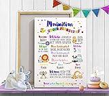Geschenk zum ersten Geburtstag Tiere Kinderzimmer Deko BildMeilensteine Print Milestone Poster Erinnerung Leinwand oder Papier PERSONALISIERBAR