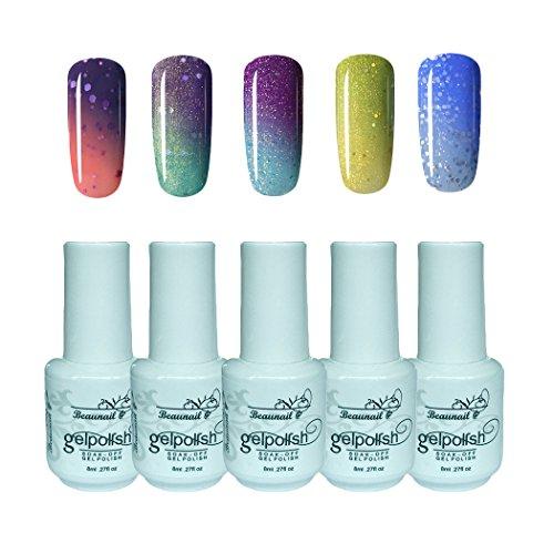 Beaunail Soak-Off-Gel-Nagelpolitur-Set, 5 Farben, Temperatur-Farbwechsel, Chamäleon-Manikür-Set