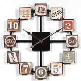 Jo332Bertram Wanduhr Vintage, Wanduhr Groß 60cm Uhr Metall Ohne Tickgeräusche Dekorative Wanduhr für Küche, Wohnzimmer Oder Büro