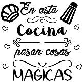 """CrisPhy® Frase Vinilo""""En esta cocina pasan cosas magicas"""" Vinilos decorativos, Pegatina frases motivadoras para pared. Pegati"""