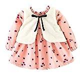 OverDose Damen 2018 Neugeborenen Baby Mädchen Cartoon Warme Prinzessin Liebhaber Print Kleid + Weste Outfits Kleidung Set(Z-Z-Z-Rosa,6 Monate)