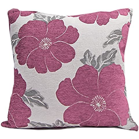 Just Contempo Poppy Chenille Cushion Cover, Pink, 18x18 inches