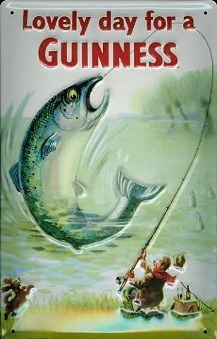 Affiche métallique avec bière guinness poisson et les pêcheurs plaque