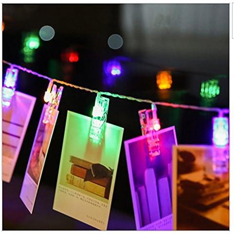 ZUOAO LED Luz Cadena Clips Fotos, 30 Clips de Fotos, 3M 30LED, Cadena de Luz para el par de Fotos, Notas, Creaciones, Foto Clip de Lámpara Alimentado por Batería (no incluido) Luz Multicolor