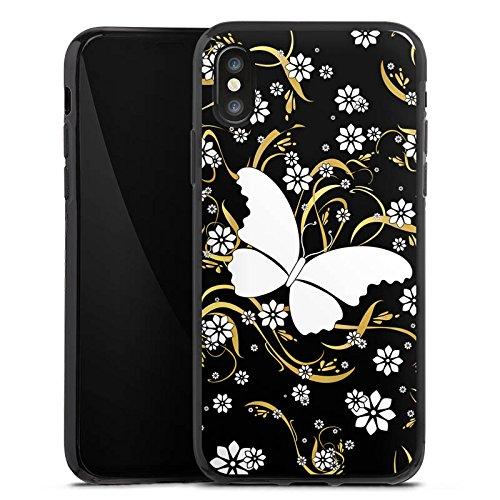 Apple iPhone X Silikon Hülle Case Schutzhülle Schmetterling Blume Muster Silikon Case schwarz