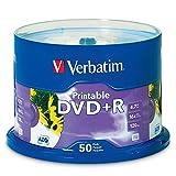 Inkjet Printable DVD+R Discs, White, 50/Pack