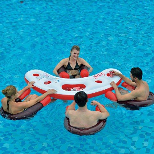 Jilong Fashio Pool Bar Set mit 4x Schwimmsessel Poolsessel Poolnudel mit Meshsitz + schwimmender Tisch mit 4 Getränkehalter und Eisfach Getränkefach - 3