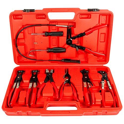 11tlg Schlauchklemmenzangen Set inkl. Koffer Schlauchschellenzangen Spezial Zangen Satz Set mit Bowdenzug Federbandschellen
