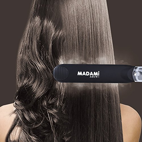 MADAMI Steam Hair Straightener for Argan Oil Infusion Treatment 2-in-1 Straighten and Curling, Professional Ceramic Tourmaline Spray Flat Iron with Locking Switch, 1 1/4 inch Vapor Conditioning Plates, Matte Black