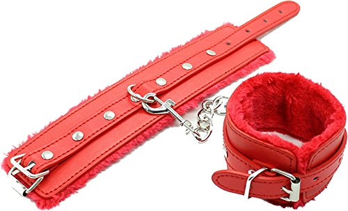 Red Faux Fur and Leather Handcuffs