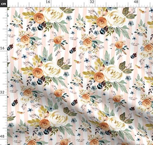 Rosa, Pfirsich, Blumen, Gold, Elfenbein, Mädchen Stoffe - Individuell Bedruckt von Spoonflower - Design von Shopcabin Gedruckt auf Faille (Gold Elfenbein Blumen-mädchen-kleider)