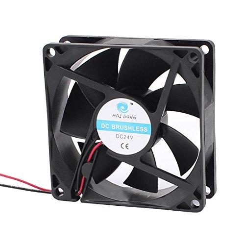 sourcingmap® DC 24V 80mmx80mmx25mm 7 paletas de ventilador del radiador de refrigeración...