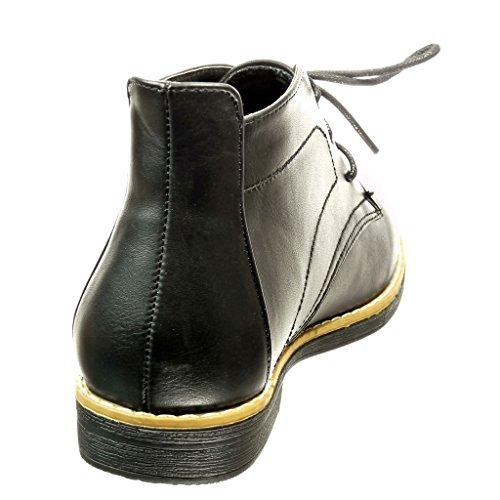 Angkorly - Zapatos Moda Botines Botas Desert Botas Costura Mujer Bloque Tacón 2 Cm Negro Pu