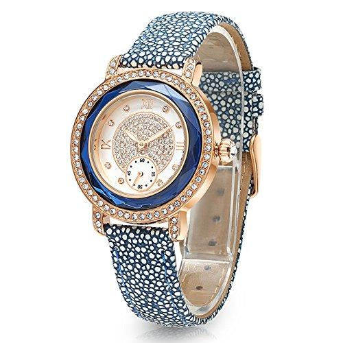Time100 NEU Damenuhr Lederarmband Quarzuhr Wasserdicht Armbanduhr mit Strass Blau #W80109L.02A