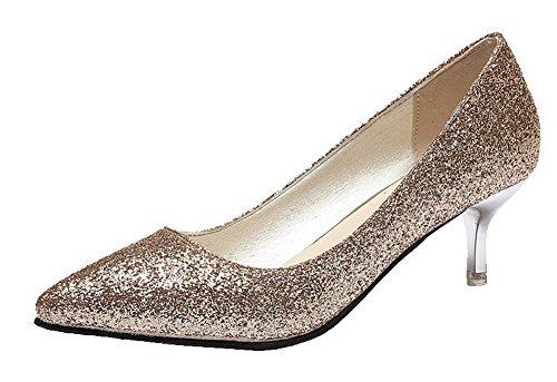 AgeeMi Shoes Damen Rein Ziehen auf Pailletten Mittler Absatz Pumps Schuhe,EuD63 Golden 41