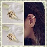 HOMEYU Zircon manchette d'oreille, pas de piercing, manchette d'oreille cartilage, manchette d'oreille simple, faux cartilage Boucle d'oreille de fleurs à cinq feuilles-or (lot de 2)