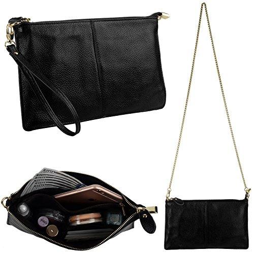 Clutch Damen Echtleder YALUXE Crossbody Große Wristlet Telefon Wallet mit Schulterkette Schwarz (6 Clutch Iphone Plus Wallet)