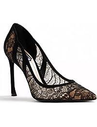 ZHANGYUSEN Nueva Gasa de Encaje, Zapatos de Tacón, Muchacha Negra, Poco Frescas Bridesmaid