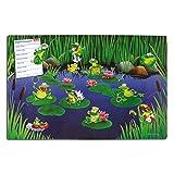 Blechschild Frosch inkl. Magnete, Geschenk Kinder Mädchen Jungen Frauen Freundin, Grün Bunt, 40x60 cm
