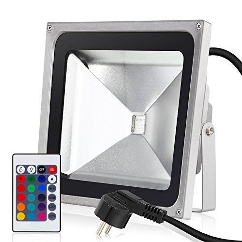 Albrillo LED 50W RGB Fluter mit 16 Farben inkl. Fernbedienung & Stecker, IP