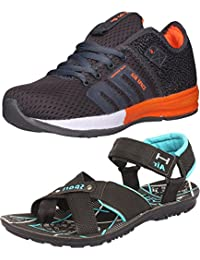 Ethics Perfect Combo Pack Of Orange Sports Shoes & Black Sea Green Sandal For Men's