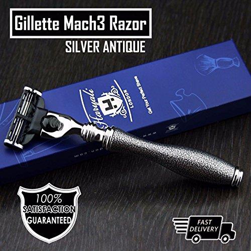 Herren Shaving Gillette Mach3kompatibel Rasierer–Vintage Collection Silber Antik–mit Rasierer geeignet für - Gillette-vintage