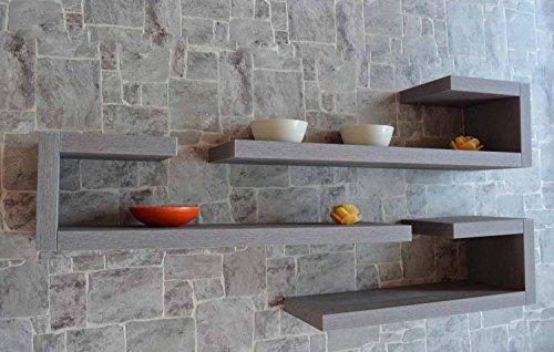 Ve.ca.s.r.l. set 3 mensole design tiffany, in legno di qualita' made in italy rovere grigio