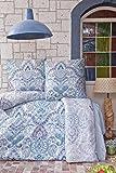 ZIRVEHOME Bettwäsche 135x200 cm, Paliza V1, Blau, 100% Baumwolle, mit Reißverschluss