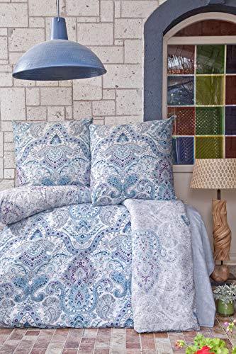 ZIRVEHOME Bettwäsche 135x200 cm, Paliza V1, Blau, 100% Baumwolle, mit Reißverschluss -