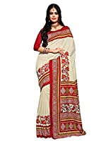 Shonaya Women's Printed Bhagalpuri Art Silk White Designer Saree With Unstitched blouse Piece