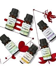 Skymore Naturreine Ätherische Öle Set, Geschenk Set für Valentinstag, 100% Pure Aroma Öle (Zitronengras, Lavendel, Teebaum, Eukalyptus, Orange, Minze), Duftöle Set Für Diffuser