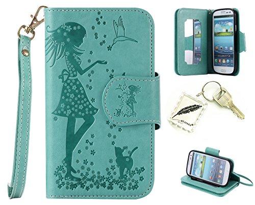 Preisvergleich Produktbild Silikonsoftshell PU Hülle für Galaxy S3 i9300 Tasche Schutz Hülle Case Cover Etui Strass Schutz schutzhülle Bumper Schale Silicone case+Exquisite key chain X1#AR (6)