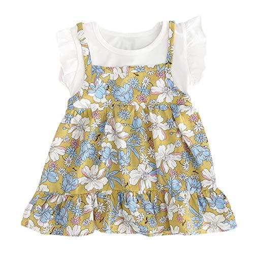 Pwtchenty Bekleidung Kleinkind Baby Kinder Mädchen Kurzarm Rüschen Blumendruck Partykleid Prinzessin Kleider Kleidung Gefälschte Zweiteilige