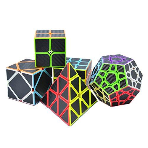 Maomaoyu Zauberwürfel Geschenkset 2×2 3x3x3 Pyraminx + Megaminx +Skewb Speedcube Kohlefaser Aufkleber Magischer Würfel Puzzle(Schwarz)