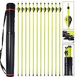 MEJOSER Bogenpfeile Carbon 30 Zoll für Bogenschießen mit Easton 2 Zoll Vanes Powerflight Jagdpfeile für Compoundbogen Recurvebogen Langbogen mit pfeilköcher