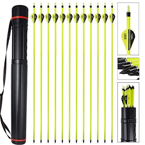 MEJOSER Bogenpfeile Carbon 30 Zoll für Bogenschießen mit 2 Zoll Vanes Powerflight Jagdpfeile für Compoundbogen Recurvebogen Langbogen mit pfeilköcher