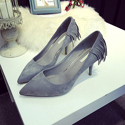 (TM)-Spritech da donna, in pelle satinata, punta arrotondata, tacco a stiletto, scritta Elgeant pompe Shoes, Gary, US:7