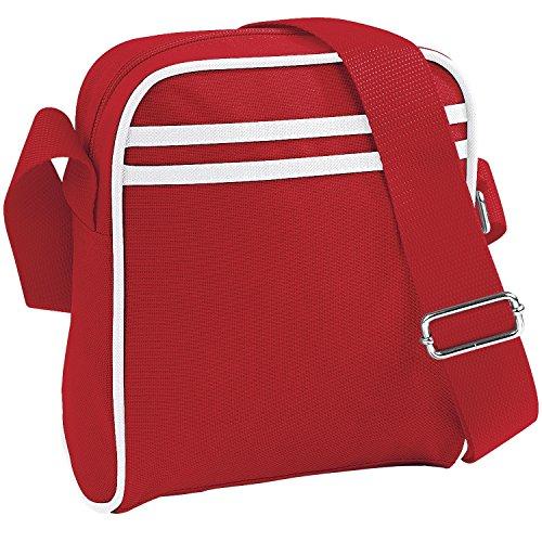 Bagbase Retro Mini Reporter-Tasche / Schultertasche, 2 Liter (Einheitsgröße) (Rot/Weiß) Mini-tasche Für Männer