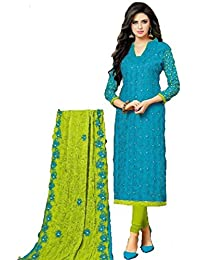 Santhi Fashions -PURE COTTON Blue AABLA WORK TOP WITH SLEEVES WORK AND HEAVY WORK NAZNEEN Green CHIFFON DUPATTA...