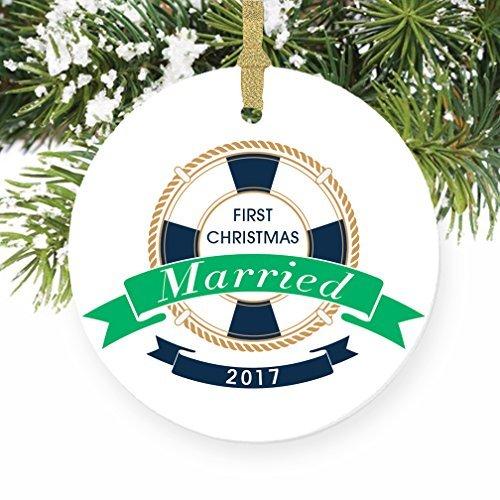 Weihnachtsschmuck Ornament Nautisches First Christmas wie Herr & Frau 1. Married Weihnachtsschmuck für das Handwerk Keramik