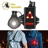 Volcano Eye Luz para Correr Running Lámpara de Pecho con Haz Ajustable de 500 Lúmenes Frontal LED de Seguridad Trasera Recargable USB Impermeabl para Ciclismo Carrera Caza Acampada Montañismo
