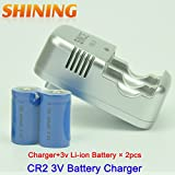 3V CR2 Battery 2 Pcs 3V Li-ion Rechargeable Battery + 1 Pcs CR2 Battery Charger For Rangefinder Mini Telescope Camera Batteries