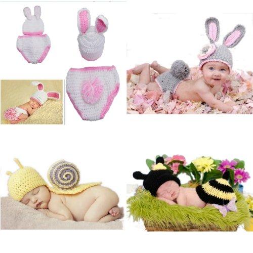 Imagen de v sol bebé recién nacido niño niña algodón aminal beanie sombreros ropa disfraz fotografía proposición 3 6 meses 4pcs